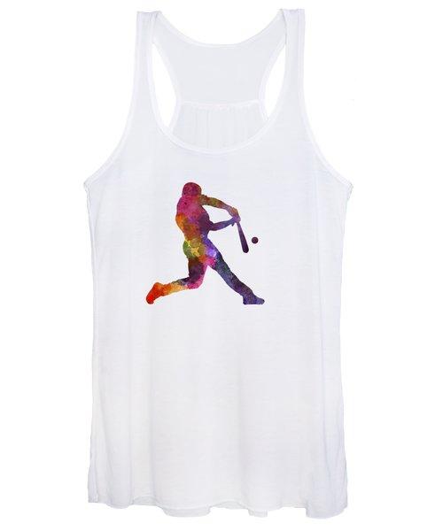 Baseball Player Hitting A Ball Women's Tank Top
