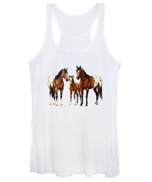 Bay Appaloosa Horses In Winter Pasture Women's Tank Top