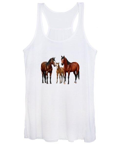 Bay Horses In Winter Pasture Women's Tank Top