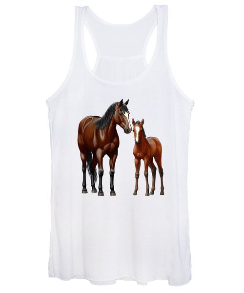 Bay Mare And Foal In Winter Women's Tank Top