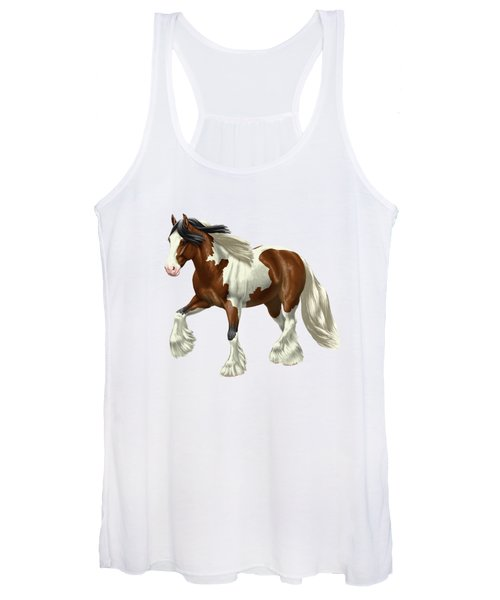 Bay Pinto Gypsy Vanner In Snow Women's Tank Top