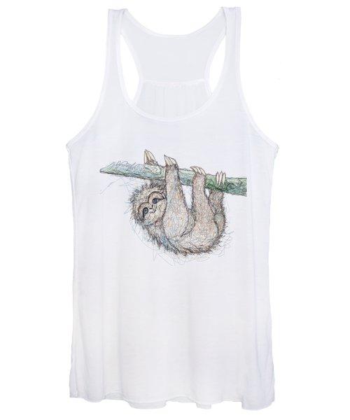Be Slothful Slow Down Digital Sketch Of Sloth  Women's Tank Top