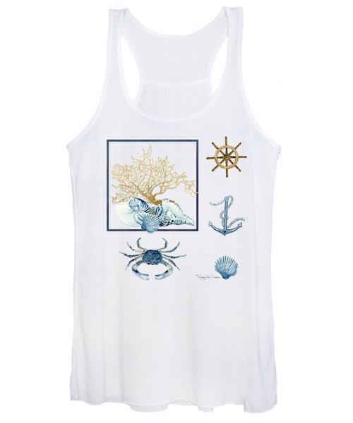 Beach House Nautical Seashells Ships Wheel Anchor N Crab Women's Tank Top