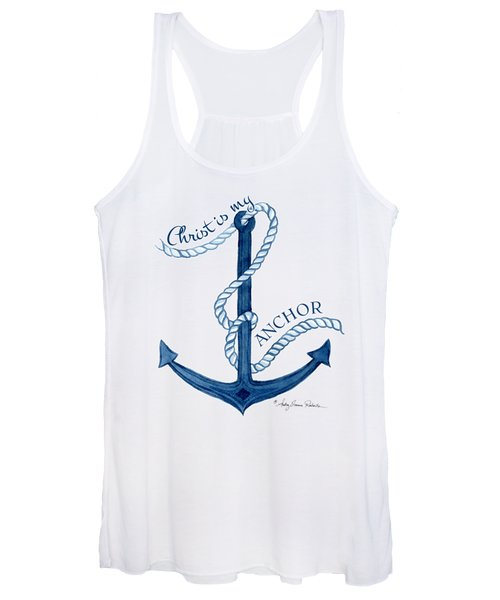 Beach House Nautical Ship Christ Is My Anchor Women's Tank Top