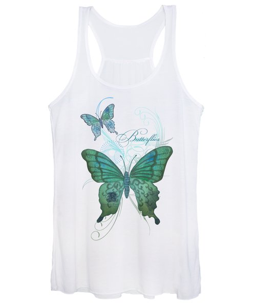 Beautiful Butterflies N Swirls Modern Style Women's Tank Top