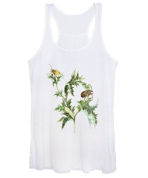 Beetles With Larvae On A Thistle By Cornelis Markee 1763 Women's Tank Top