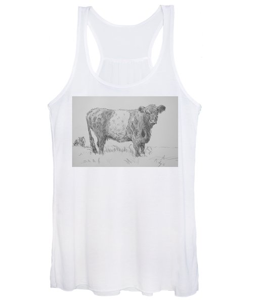 Belted Galloway Cow Pencil Drawing Women's Tank Top