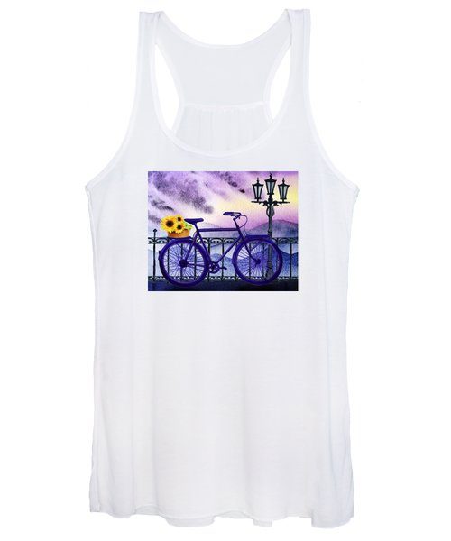 Blue Bicycle And Sunflowers By Irina Sztukowski  Women's Tank Top
