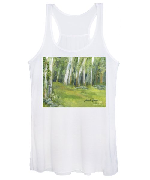 Birch Trees And Spring Field Women's Tank Top
