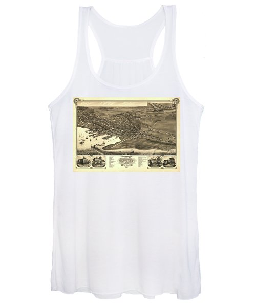 Bird's Eye View Of The Town Of Nantucket In The State Of Massachusetts Women's Tank Top