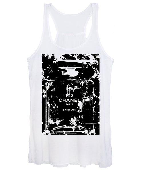 Black And White Chanel Splatter Women's Tank Top