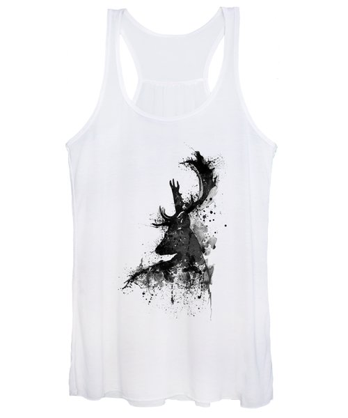 Black And White Deer Head Watercolor Silhouette Women's Tank Top