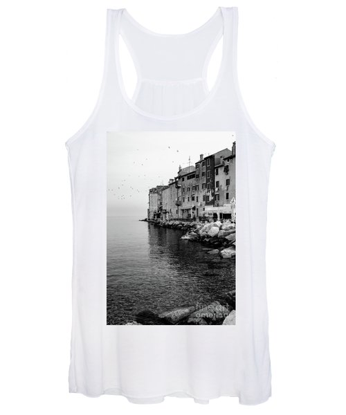 Black And White - Rovinj Venetian Buildings And Adriatic Sea, Istria, Croatia Women's Tank Top