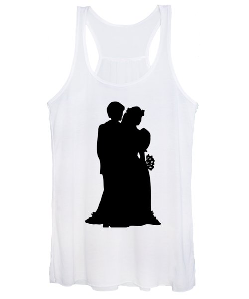 Black And White Silhouette Of A Bride And Groom Women's Tank Top