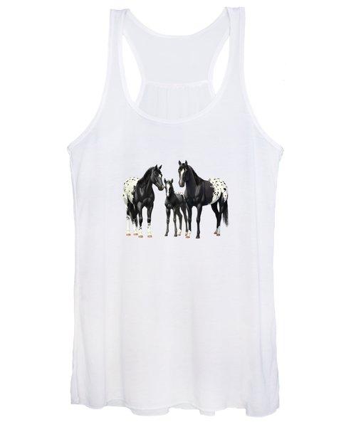 Black Appaloosa Horses In Snow Women's Tank Top
