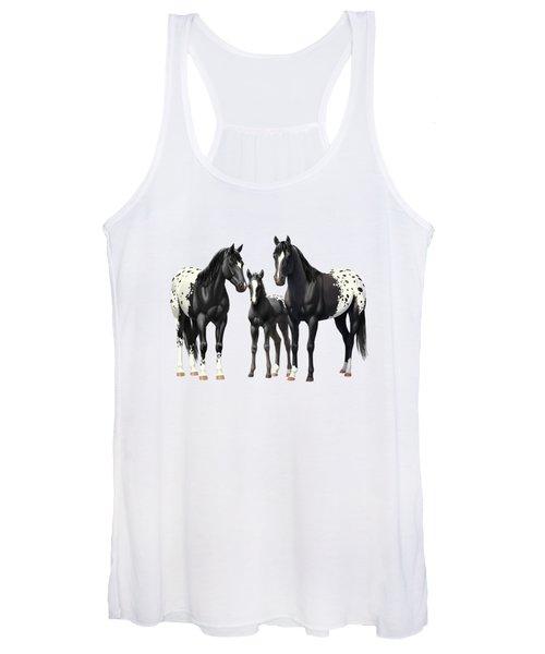 Black Appaloosa Horses In Winter Pasture Women's Tank Top