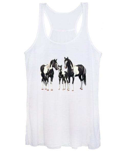 Black Paint Horses In Winter Pasture Women's Tank Top