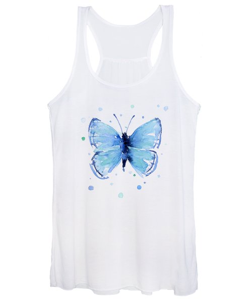 Blue Abstract Butterfly Women's Tank Top
