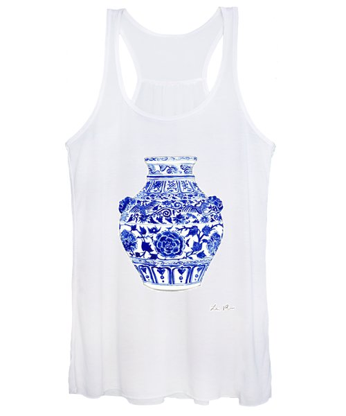 Blue And White Ginger Jar Chinoiserie 4 Women's Tank Top