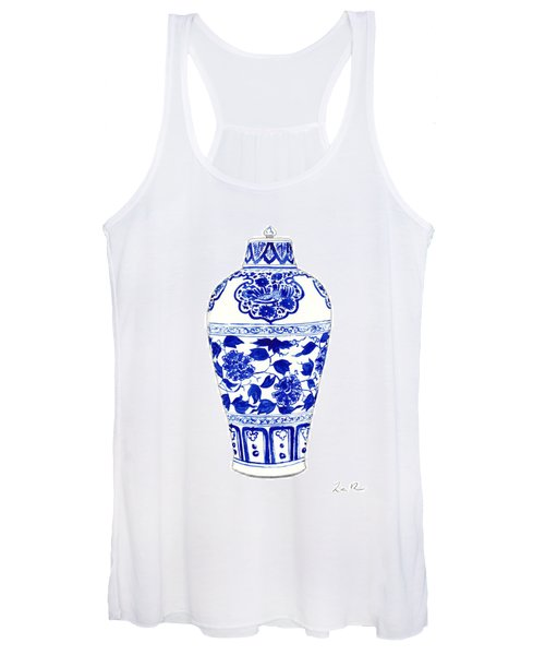 Blue And White Ginger Jar Chinoiserie Jar 1 Women's Tank Top