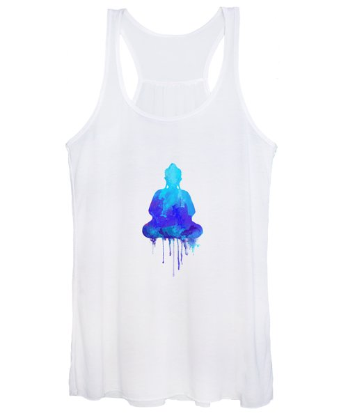 Blue Buddha Watercolor Painting Women's Tank Top