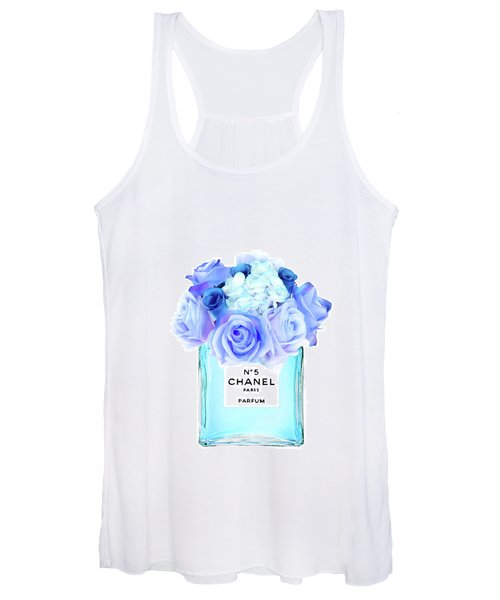Blue Chanel No.5 With Blue Roses Women's Tank Top