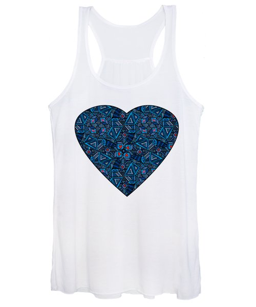 Blue Doodles - Hearts And Smiles   Women's Tank Top