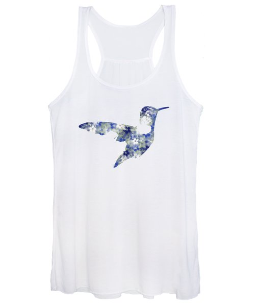 Blue Floral Hummingbird Art Women's Tank Top