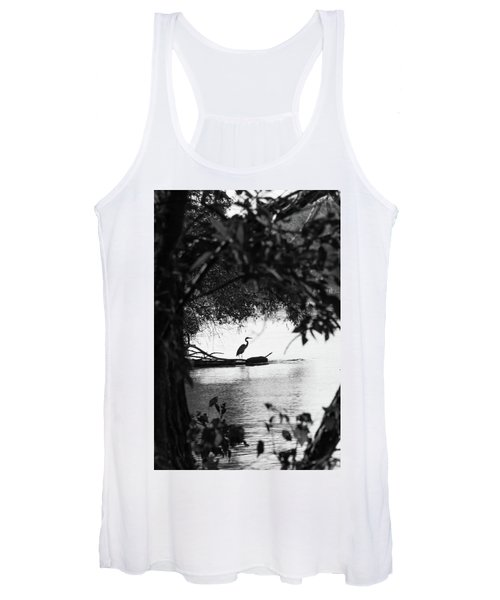 Blue Heron In Black And White. Women's Tank Top