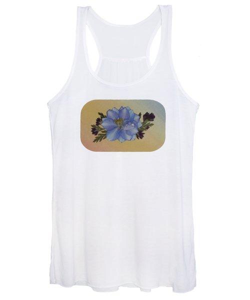 Blue Larkspur And Oregano Pressed Flower Arrangement Women's Tank Top