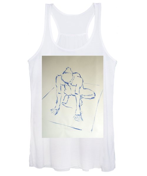 Blue Line Painting Of A Male Nude Kneeling On His Heels And Resting On Hands Which Are Behind Him Women's Tank Top