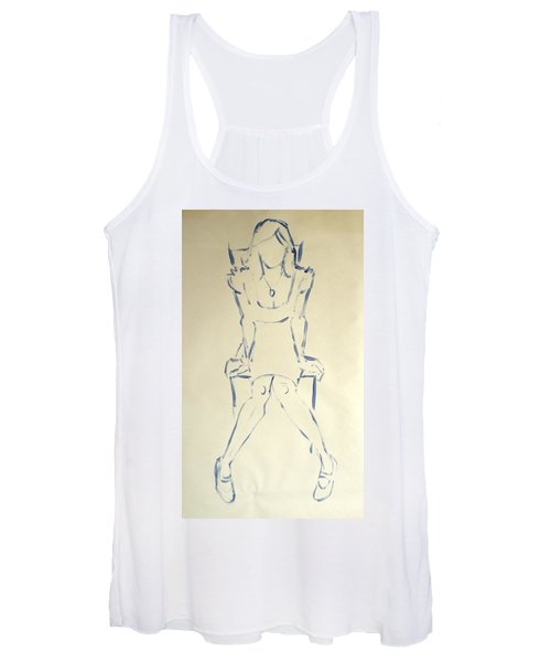 Blue Line Painting Of Woman Sat On Chair With Hands On The Sides Of Her Legs Women's Tank Top
