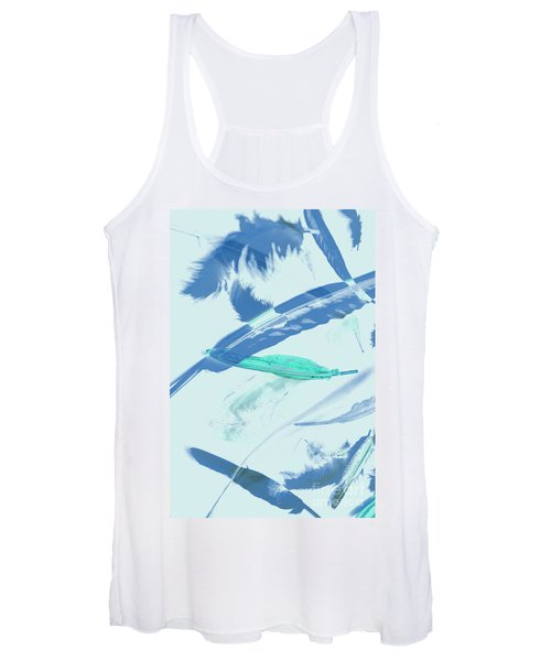 Blue Toned Artistic Feather Abstract Women's Tank Top