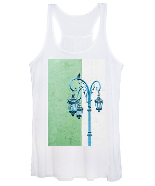 Blue,green And White Women's Tank Top