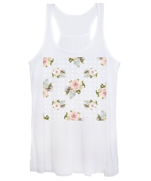 Blush Pink Floral Rose Cluster W Dot Bedding Home Decor Art Women's Tank Top