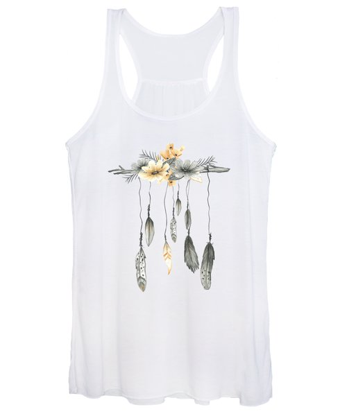 Boho Feathers Floral Branch Women's Tank Top