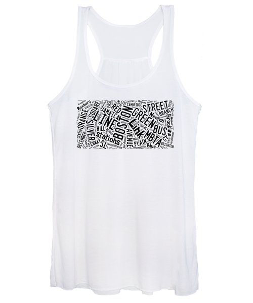 Boston Subway Or T Stops Word Cloud Women's Tank Top