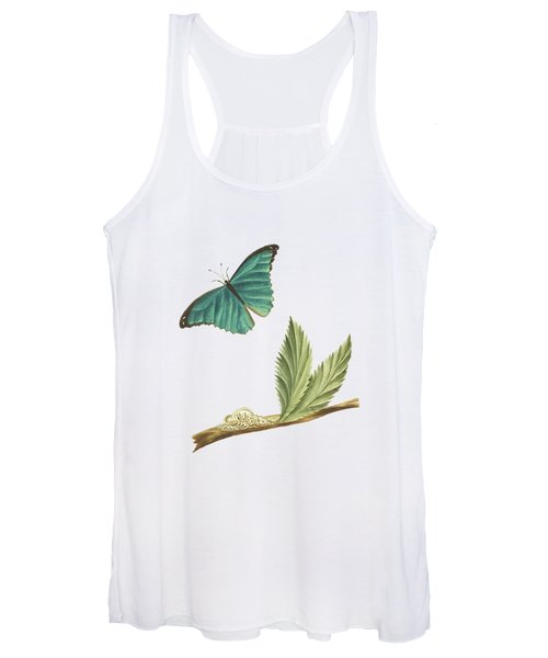 Branch Of A Medlar Tree With Caterpillar And Butterfly By Cornelis Markee 1763 Women's Tank Top