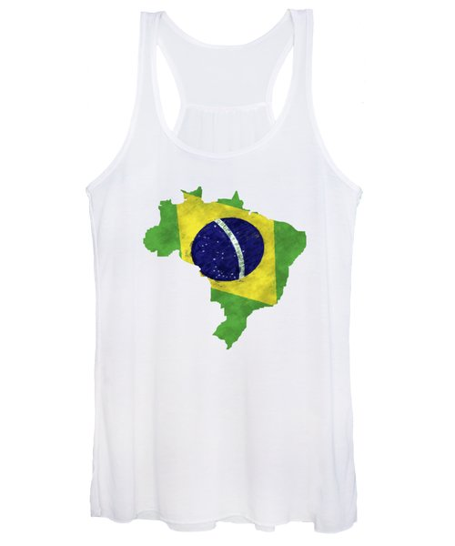 Brazil Map Art With Flag Design Women's Tank Top
