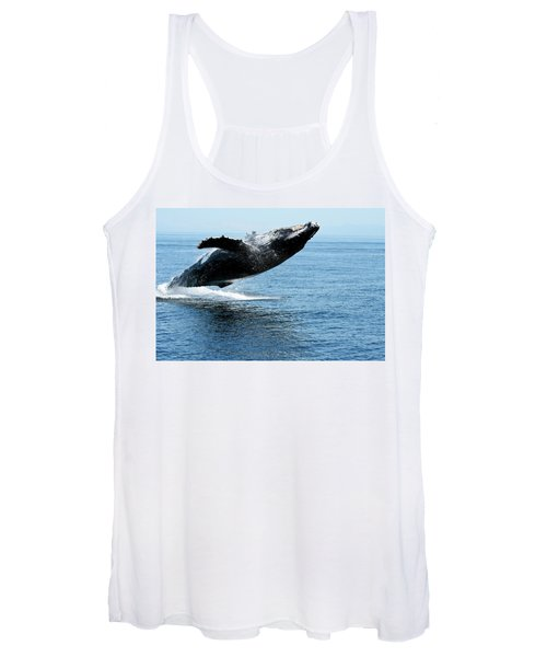 Breaching Humpback Whales Happy-2 Women's Tank Top