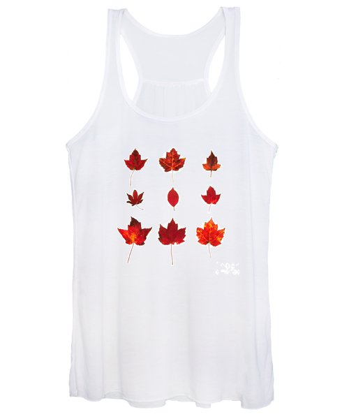 Bright Red Autumn Leaves Women's Tank Top