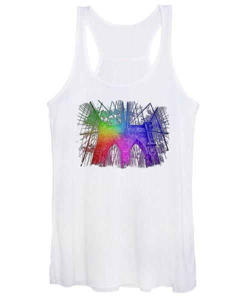 Brooklyn Bridge Cool Rainbow 3 Dimensional Women's Tank Top