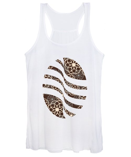Brown And Silver Floral Pattern Women's Tank Top