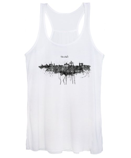 Brussels Black And White Skyline Silhouette Women's Tank Top