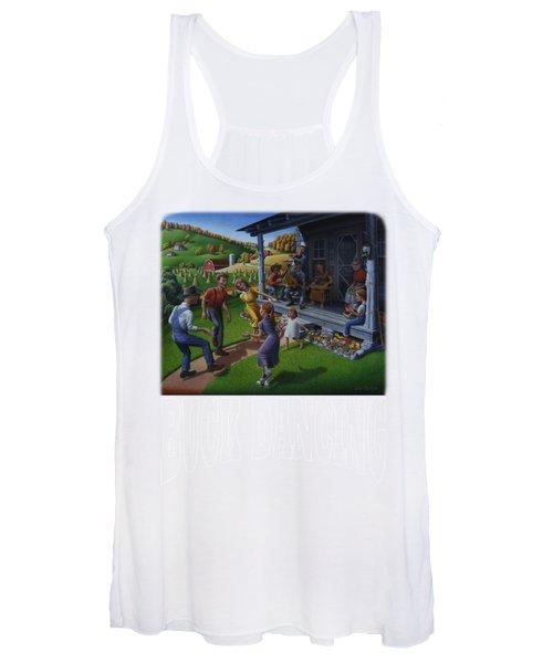 Buck Dancing T Shirt - Mountain Dancing - Porch Music Women's Tank Top