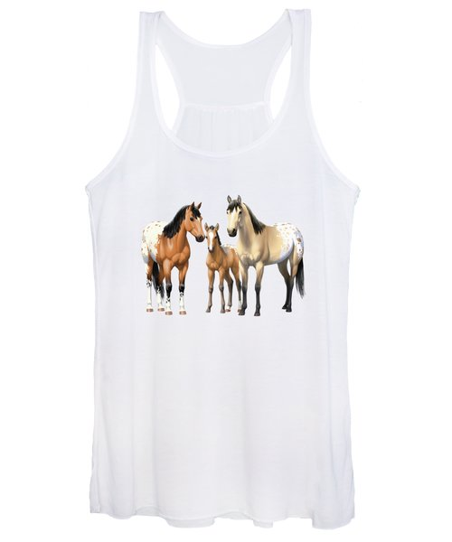 Buckskin Appaloosa Horses In Winter Pasture Women's Tank Top
