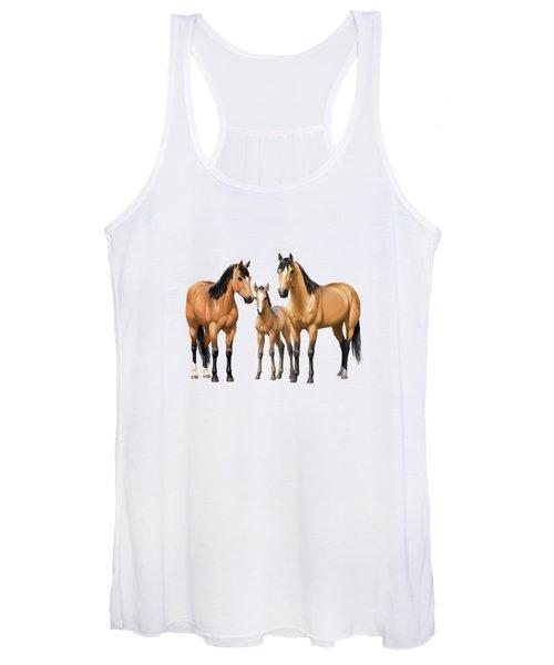 Buckskin Horses In Winter Pasture Women's Tank Top