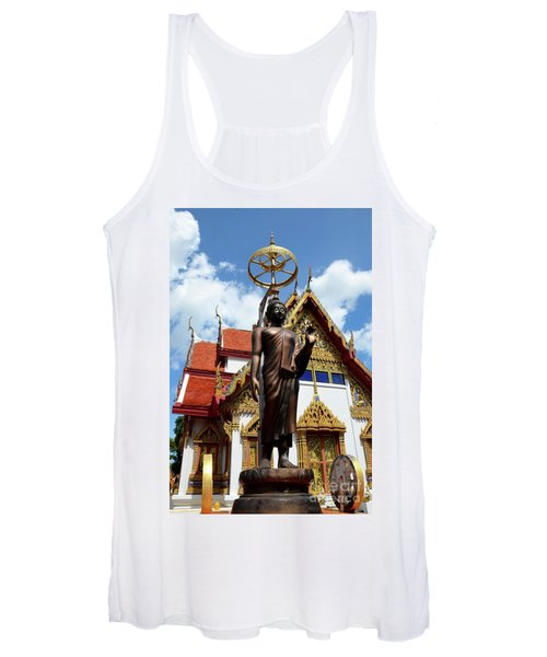 Buddha Statue With Sunshade Outside Temple Hat Yai Thailand Women's Tank Top