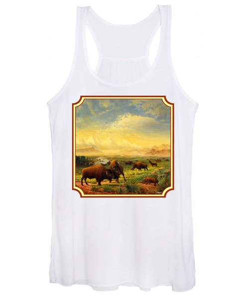 Buffalo Fox Great Plains Western Landscape Oil Painting - Bison - Americana - Square Format Women's Tank Top
