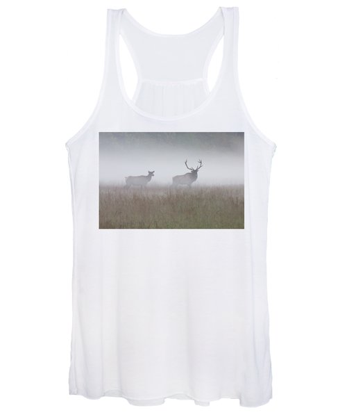 Bull And Cow Elk In Fog - September 30 2016 Women's Tank Top